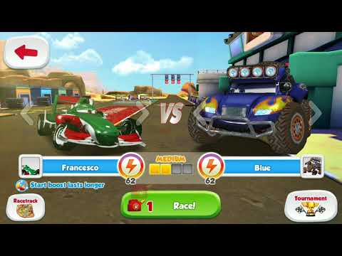 Disney Pixar Cars Race Francesco Bernoulli Vs Carla & Monster Blue Gameplay
