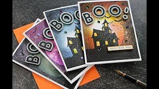 Halloween Cards Ink Blending + Spooky Silhouette Background #stamptember