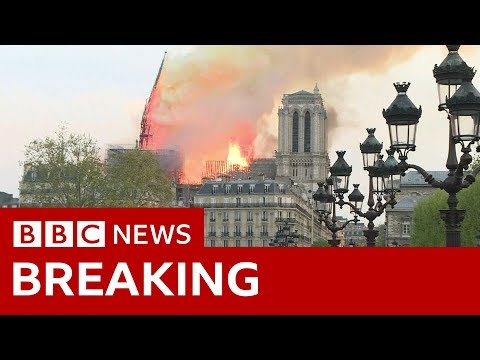The moment Notre-Dame's spire fell - BBC News