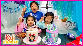 Emma and Kate Mulan vs Ariel 4th Birthday party Special!!!!