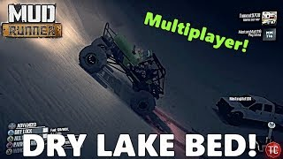 SpinTires MudRunner: MULTIPLAYER! DRY LAKE BED! Vertical Wall Climbing, Jeep vs POWERSTROKE!