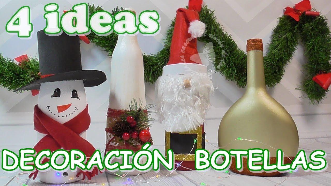 4 ideas de botellas de cristal recicladas y decoradas de navidad. Decoración navideña