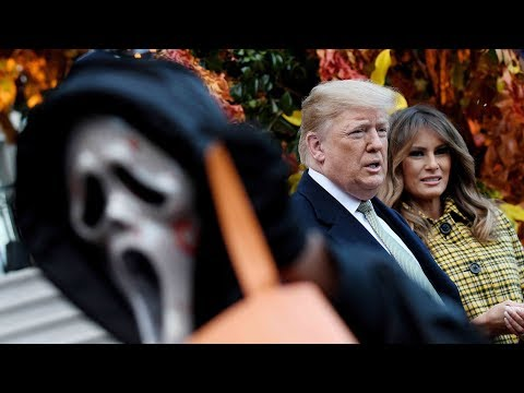 Trump and first lady hand out Halloween candy to children at White House