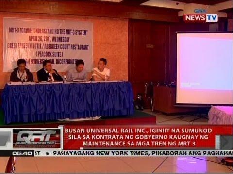 QRT: Busan Universal Rail Inc., iginiit na sumunod sila sa kontrata kaugnay ng maintenance sa MRT3