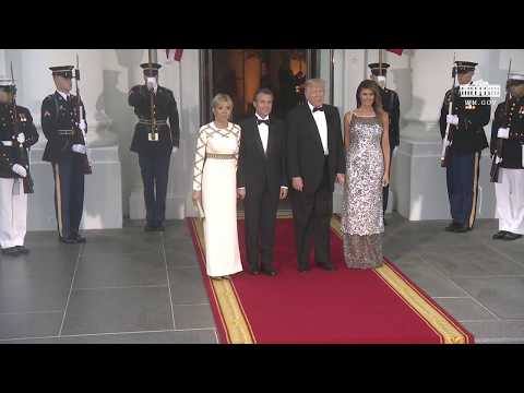 The Arrival of the President of France and Mrs. Macron to the State Dinner