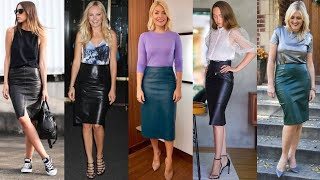 Timeless Beautiful Leather Pencil Skirts Outfits Designs For Working Womens #2020