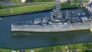 Aerials of leaking Battleship Texas