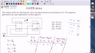 GATE 2014 ECE Sequential Circuits with JK flip flop, Sequence generated at Q1