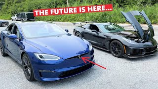 TESLA PLAID Races My 1,000HP Corvette ZR1!!! *Can the Plaid Be Defeated?!?*