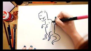 Como dibujar un Tiranosaurus - dibujos de dinosaurios para niños