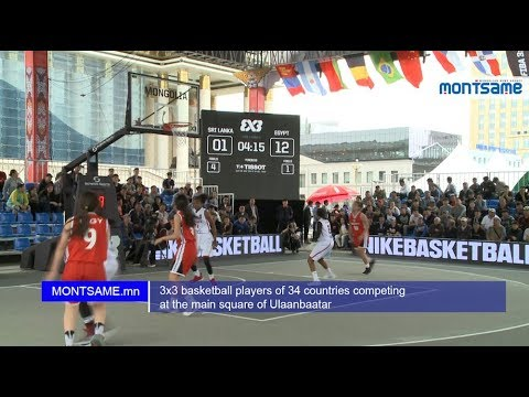 3x3 basketball players of 34 countries competing at the main square of Ulaanbaatar