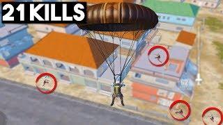 YOU WON'T BELIEVE THIS LANDING!   21 KILLS Solo vs Squad   PUBG Mobile
