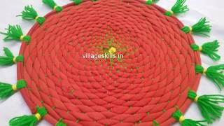 Gambar cover How to make tassels doormat,DIY door mat making with old leggings/ T shirts,recycling rugs,yoga mat