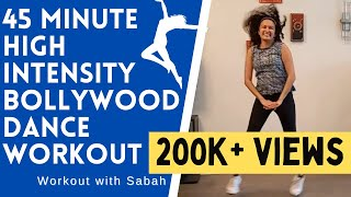 45 Minute At-home Bollywood High Intensity Dance Fitness Workout   Burns 🔥 500 calories   Live Class