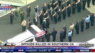 EMOTIONAL: Body of Whittier Officer Who Was Shot and Killed Transported in Orange County (FNN)