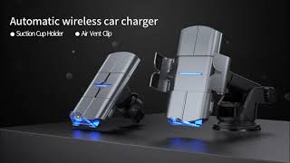 15W Phone Quick Charging Car Mount Wireless Charger for iPhone for Samsung KC QI certificate youtube video