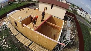 Сборка дома из СИП панелей. 17 рабочих дней за 4 минуты. SIP house 110m2 ready for 17 work days.