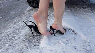 nando muzi high heels sandals on ice, high heels on snow, slippy high heels (scene 166)