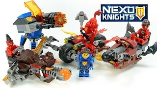 Nexo Knights Clay's Launcher Macy's Cycle Flame Thrower & Beast Master Chariots LEGO KnockOff Sets