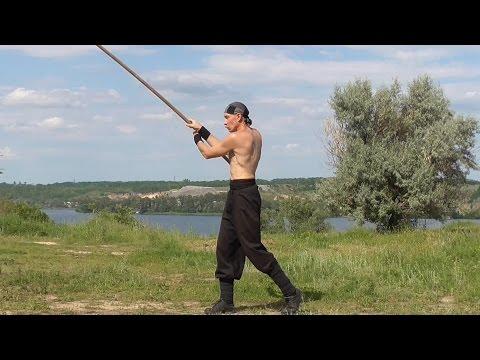 Martial arts: long stick, rotation, training. - YouTube