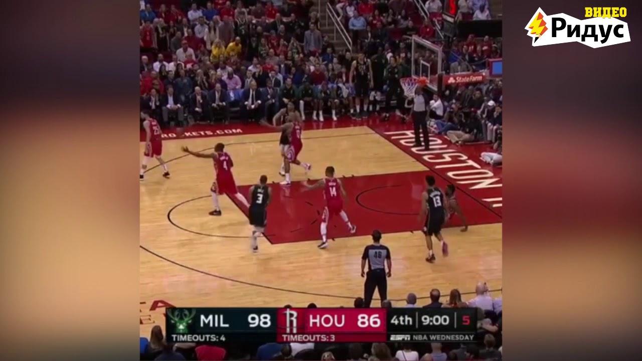 Видео: баскетболист отправил в нокдаун мячом игрока команды соперников