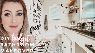 DIY BUDGET BATHROOM MAKEOVER | KIDS SMALL BATHROOM TRANSFORMATION | HOW TO PAINT + STENCIL TILE