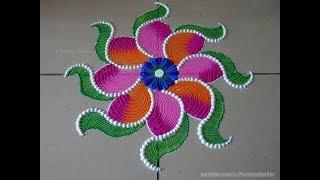 Beautiful and unique flower rangoli   Easy rangoli designs by Poonam Borkar