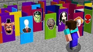 Какую СТРАШНУЮ Дверь из 1000 выберет Нуб в Майнкрафт? Бабушка Гренни,Слендермен в Minecraft Мультик!