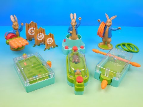 2018 PETER RABBIT SET OF 6 McDONALDS HAPPY MEAL KIDS MOVIE TOYS VIDEO REVIEW