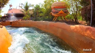 [4K] Cloudy with a Chance of Meatballs Water Rapids Ride - MotionGate Theme Park