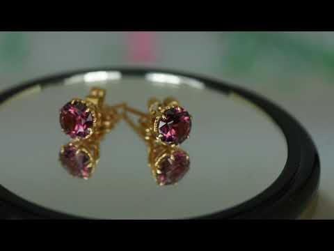 Stunning set of 18K. pink gold and pink color shift rhodolite umma garnet earrings with certificate.