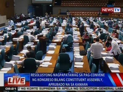 Resolusyong nagpapatawag sa pag-convene ng Kongreso bilang Con-Ass, aprubado na sa Kamara