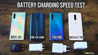 Samsung Galaxy Note10+ vs Huawei P30 Pro vs OnePlus 7 Pro- Battery Charging Speed Test!