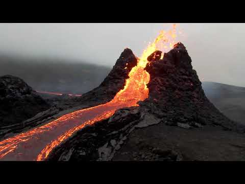 Incredible Drone View of Iceland's Erupting Volcano