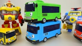 Tayo bus & Robocar Poli car toys blocks and rescue in water