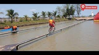 Thử thách đạp xe qua cầu khỉ siêu hẹp chỉ 1 gang tay ở miền tây