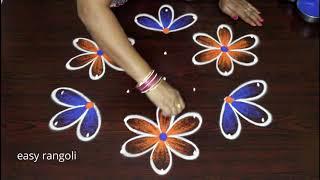 Latest Beginners Evening Color Kolam Designs    Easy & Simple Rangoli By Suneetha    Cute Muggulu