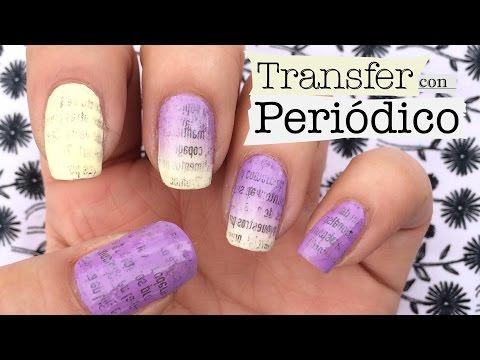 Nail art Transfer con periódico. Newspaper Print