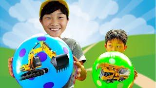 자동차 장난감 풍선놀이 포크레인 중장비 트럭놀이 Car Toys Play with Balloon