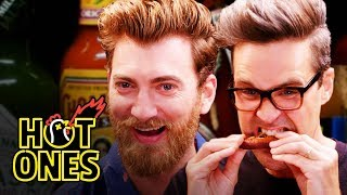 Rhett & Link Hiccup Uncontrollably While Eating Spicy Wings | Hot Ones