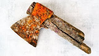 Old Rusty Military Axe Restoration