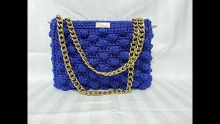 Χειροποίητη τσάντα μπλε ρουά - Blue Royal Handmade Bag - Sophie Greece