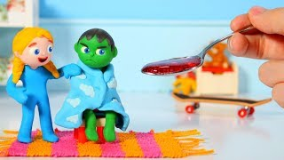 LITTLE BOY HAS A COLD ❤ SUPERHERO PLAY DOH CARTOONS FOR KIDS