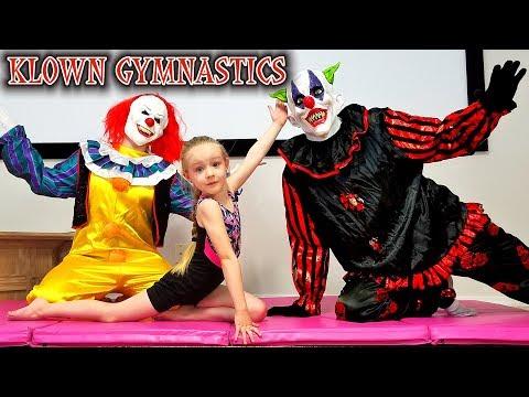 Hilarious Creepy Clowns Family Gymnastics Taught by 5 Year Old Trinity!!!