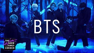 """Late Late Show music guest BTS lights up Stage 56 with their debut performance of """"Black Swan,"""" the latest hit from the Kpop super group.  More Late Late Show: Subscribe: http://bit.ly/CordenYouTube Watch Full Episodes: http://bit.ly/1ENyPw4 Facebook: http://on.fb.me/19PIHLC Twitter: http://bit.ly/1Iv0q6k Instagram: http://bit.ly/latelategram  Watch The Late Late Show with James Corden weeknights at 12:35 AM ET/11:35 PM CT. Only on CBS.  Get new episodes of shows you love across devices the next day, stream live TV, and watch full seasons of CBS fan favorites anytime, anywhere with CBS All Access. Try it free! http://bit.ly/1OQA29B  --- Each week night, THE LATE LATE SHOW with JAMES CORDEN throws the ultimate late night after party with a mix of celebrity guests, edgy musical acts, games and sketches. Corden differentiates his show by offering viewers a peek behind-the-scenes into the green room, bringing all of his guests out at once and lending his musical and acting talents to various sketches. Additionally, bandleader Reggie Watts and the house band provide original, improvised music throughout the show. Since Corden took the reigns as host in March 2015, he has quickly become known for generating buzzworthy viral videos, such as Carpool Karaoke."""""""