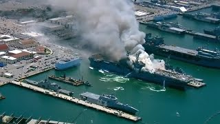 video: Firefighters battle massive blaze on US navy ship after explosion in San Diego