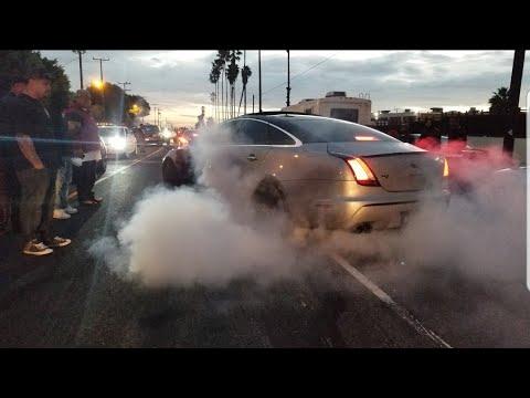Epic Jaguar XJ 5.0 Burnout ¦ Block Party