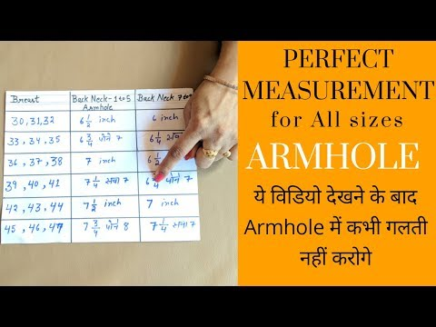 Perfect measurements for armhole | All sizes armhole tips.