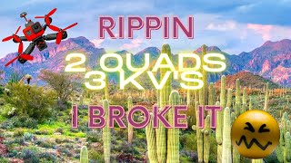 Desert Fpv Freestyle Rip - 2 quads 3 Kv's | Caution drone crash custom build Fpv fail!