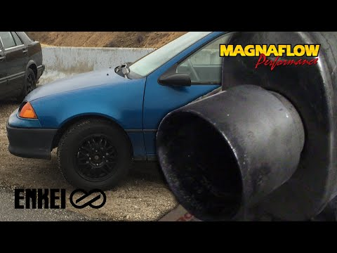 The Geo Metro Build Pt. 2 Installing Used Wheels and Muffler